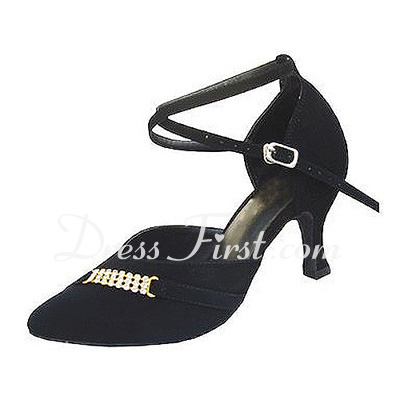 Women's Nubuck Heels Pumps Modern With Ankle Strap Dance Shoes (053013024)