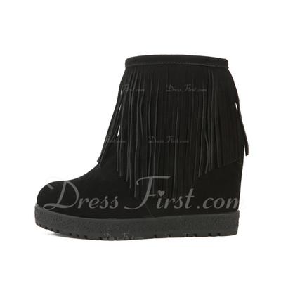 Gerçek Deri Dolgu Topuk Ayak bileği Boots Ile Püskül ayakkabı (088057508)