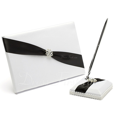 Classic Black & White Rhinestones Guestbook & Pen Set (101037369)