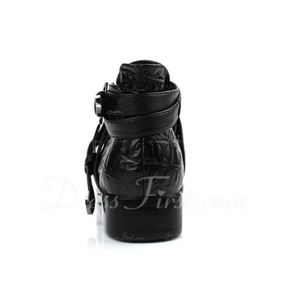 Gerçek Deri Alçak Topuk Ayak bileği Boots Ile Toka ayakkabı (088057278)