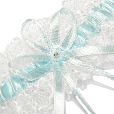 Gorgeous Satin Lace With Ribbons Wedding Garters (104026910)