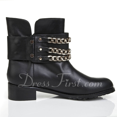 Real Leather Low Heel Pumps Closed Toe Ankle Boots With Chain shoes (088055629)