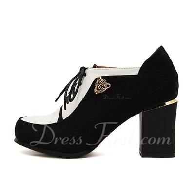 Suede Leatherette Chunky Heel Pumps Closed Toe shoes (085055290)
