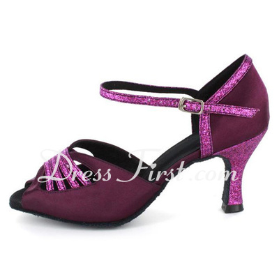 Women's Satin Sparkling Glitter Heels Sandals Latin With Ankle Strap Dance Shoes (053021562)