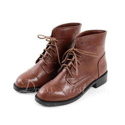 Suni deri Alçak Topuk Ayak bileği Boots Ile Bağcıklı ayakkabı (088056326)
