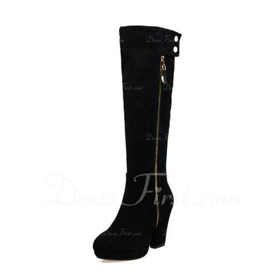 Gerçek Deri Kalın Topuk Diz Yüksek Boots Ile Fermuar ayakkabı (088057334)