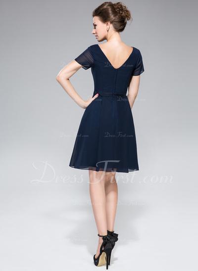 Chiffon Cowl-neck Knee-length Bridesmaid Dress With A Charmeuse Waistband   (007050080)