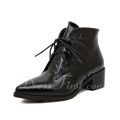 Leatherette Low Heel Ankle Boots With Lace-up shoes (088055564)