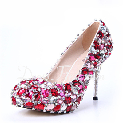 Women's Satin Cone Heel Closed Toe Platform Pumps With Rhinestone Crystal Heel (047033923)