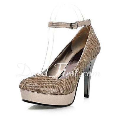 Sparkling Glitter Stiletto Heel Closed Toe Platform Pumps With Buckle (085015287)