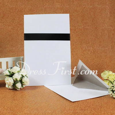 Classic Style Flat Card Invitation Cards With Ribbons (Set of 50) (114030735)