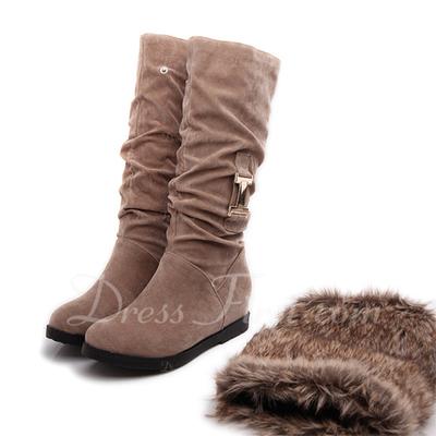Süet Alçak Topuk Mid-Buzağı Boots Ile Kürk ayakkabı (088056554)