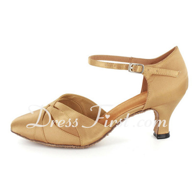 Women's Satin Heels Modern With Ankle Strap Dance Shoes (053021363)