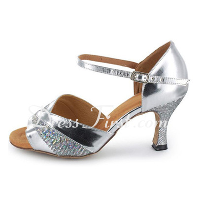 Women's Sparkling Glitter Patent Leather Heels Sandals Latin Dance Shoes (053021499)