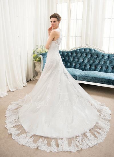 Corte A/Princesa Escote corazón Cola corte Tul Encaje Vestido de novia con Bordado Lentejuelas (002054353)