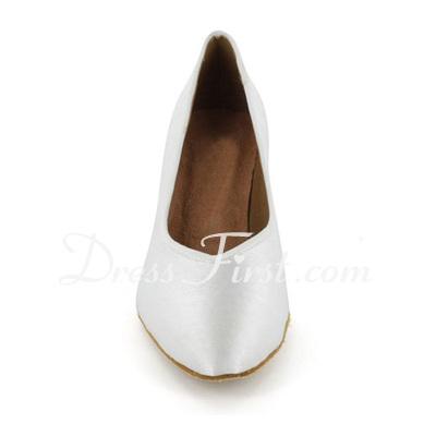 Women's Satin Heels Pumps Modern Ballroom Dance Shoes (053021380)