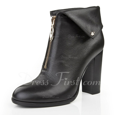 Real Leather Chunky Heel Pumps Closed Toe Ankle Boots With Zipper shoes (088055620)