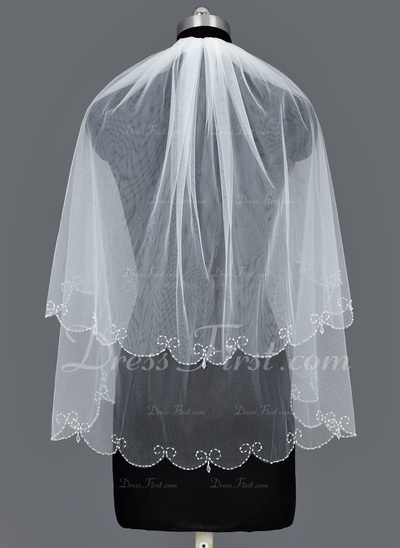 Two-tier Fingertip Bridal Veils With Beaded Edge (006034292)