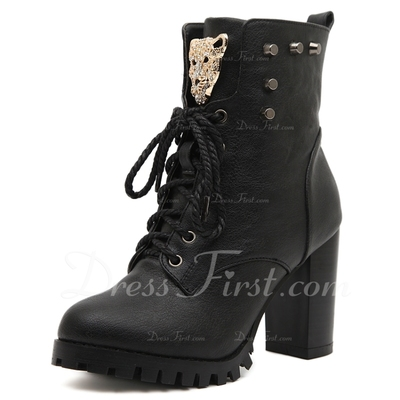 Leatherette Chunky Heel Pumps Closed Toe Ankle Boots With Lace-up shoes (088054801)