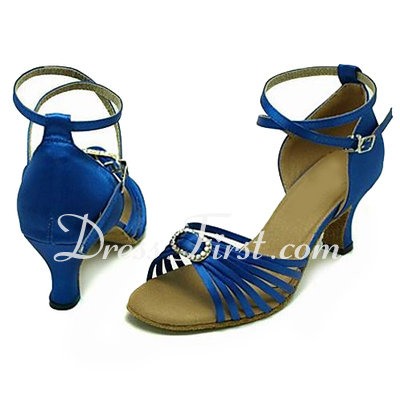 Women's Satin Sandals Latin With Ankle Strap Dance Shoes (053013147)