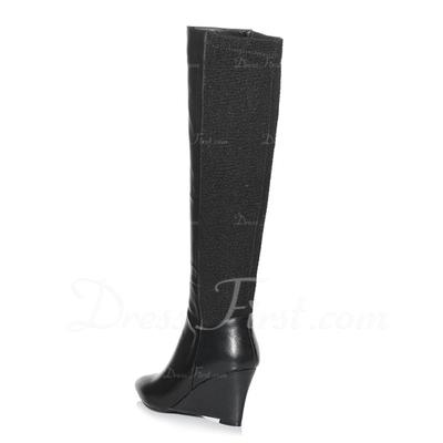 Gerçek Deri Dolgu Topuk Diz Yüksek Boots Boots Binme ayakkabı (088057358)
