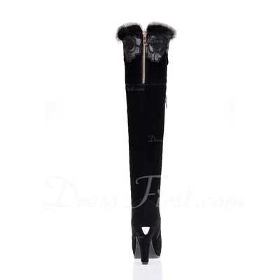 Suede Chunky Heel Knee High Boots With Fur shoes (088054828)