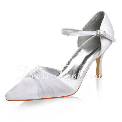 Women's Satin Stiletto Heel Closed Toe With Buckle Rhinestone (047011835)