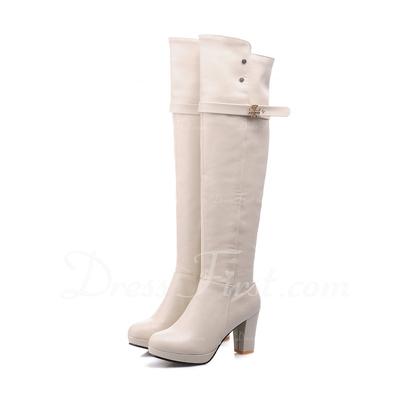 Suni deri Kalın Topuk Diz Yüksek Boots Ile Toka ayakkabı (088056348)