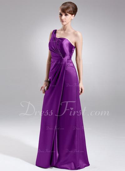 Sheath/Column One-Shoulder Floor-Length Charmeuse Bridesmaid Dress With Ruffle (017022527)