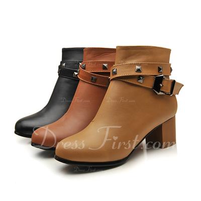 Cuero Tacón ancho Botas al tobillo con Hebilla zapatos (088054399)
