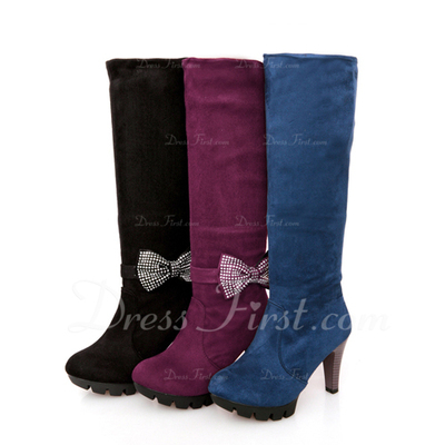 Leatherette Stiletto Heel Knee High Boots With Bowknot shoes (088054669)