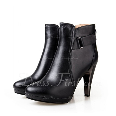 Gerçek Deri İnce Topuk Ayak bileği Boots ayakkabı (088056338)