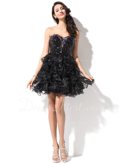 A-Line/Princess Sweetheart Short/Mini Organza Sequined Homecoming Dress With Beading (022027149)