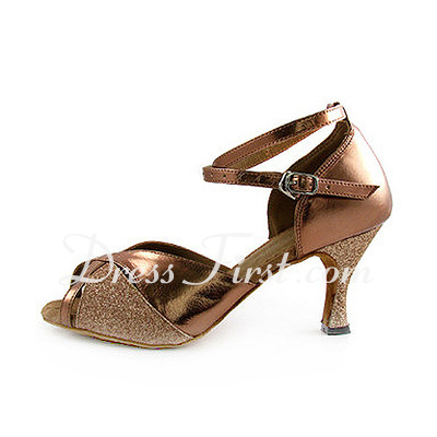 Women's Leatherette Sparkling Glitter Heels Sandals Latin With Ankle Strap Dance Shoes (053013027)