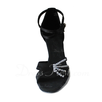 Women's Satin Heels Sandals Latin With Ankle Strap Dance Shoes (053006986)