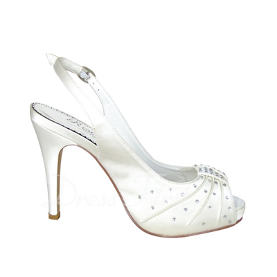 Women's Satin Stiletto Heel Peep Toe Pumps Sandals With Buckle Rhinestone (047057115)