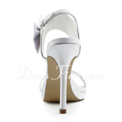 Women's Satin Stiletto Heel Platform Sandals Slingbacks With Bowknot Buckle (047011889)