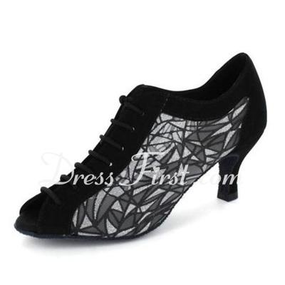 Women's Nubuck Heels Pumps Modern Ballroom Practice Dance Shoes (053020413)