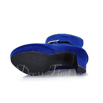 Süet Kalın Topuk Ayak bileği Boots Ile Toka ayakkabı (088057331)