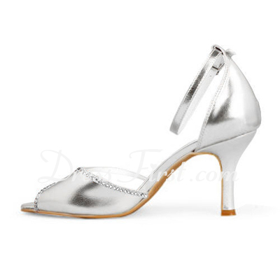 Women's Leatherette Stiletto Heel Peep Toe Sandals With Rhinestone (047011868)