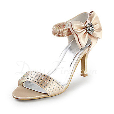 Women's Satin Stiletto Heel Peep Toe Sandals With Bowknot Rhinestone (047015227)