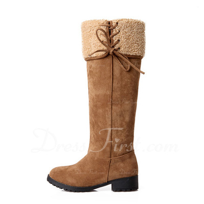 Suede Low Heel Knee High Boots Snow Boots shoes (088056916)