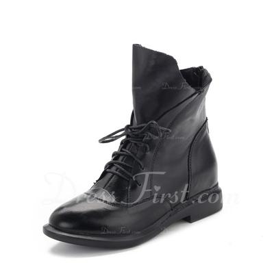 Gerçek Deri Düz Topuk Ayak bileği Boots Ile Bağcıklı ayakkabı (088057516)