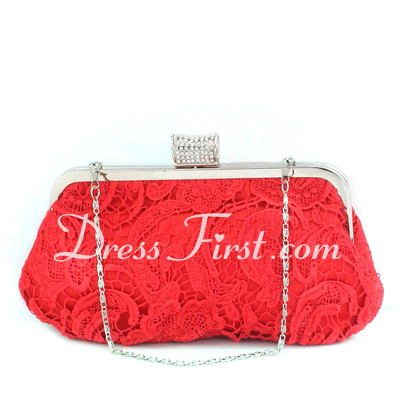 Gorgeous Satin With Lace/Rhinestone Clutches (012027021)