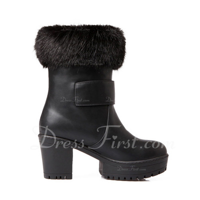Leatherette Chunky Heel Platform Ankle Boots With Buckle shoes (088054717)