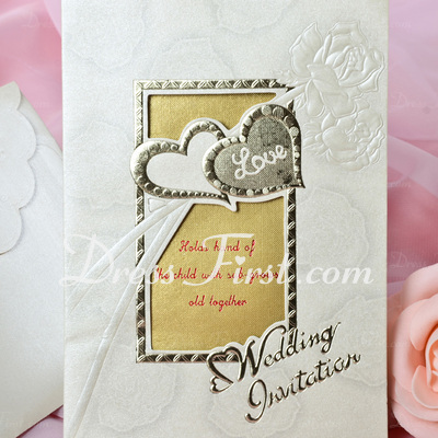 Heart Style Tri-Fold Invitation Cards (Set of 50) (114033297)