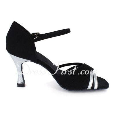 Women's Patent Leather Nubuck Heels Sandals Latin With Ankle Strap Dance Shoes (053021445)