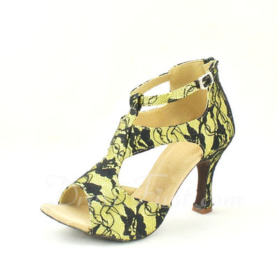 Women's Lace Heels Sandals Latin With T-Strap Dance Shoes (053057146)