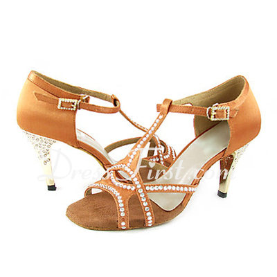 Women's Satin Heels Sandals Latin Ballroom With Rhinestone T-Strap Dance Shoes (053013455)
