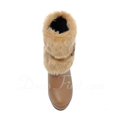 Kadın Suni deri Kalın Topuk Ayak bileği Boots Ile Kürk ayakkabı (088056356)
